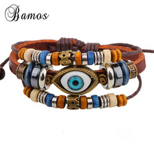 Korean Style Rope Leather Woven Evil Eye Bracelet Handmade Vintage Jewelry Multi Layer Bead Charm Bracelets Party Gift SMT0016