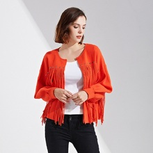 Plus Size Women Casual Coat 2017 Autumn Fashion Korean Tassel Puff Sleeve Elegant Jackets Winter Loose Female Outerwear(China)
