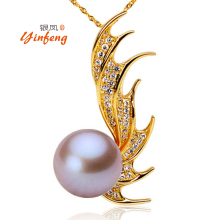 [MeiBaPJ]Yellow phoenix pendant necklace real freshwater pearl women's party jewelry 10-11mm 4 colors(China)