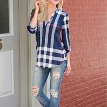 2017 Plus Size 5XL Womens Blouse Autumn 3/4 Sleeve V-Neck Blue White Casual Plaid Shirts Ladies Elegant Irregular Blusas