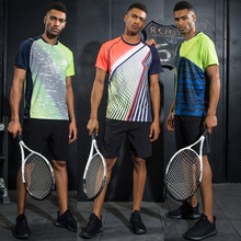 LYNSKEY Men Tennis Shirt Set Badminton Clothes Table Tennis Clothing Running Shirt+Shorts Breathable Quick Dry Sportswear Suit