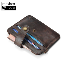 Mashco Leather credit Card Holder ID Card bags Mini Purse men slim Wallets,clamp for money carteira masculina free shipping