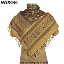 High Quality Skull Arab Scarves Men Winter Military Windproof Scarf 100% Cotton thicken Muslim Tactical Desert Arabic Scarf(China)