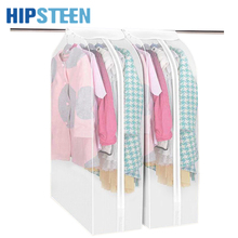 HIPSTEEN Hight Quility Thicken PEVA Hang Dustproof Clothes Storage Bag Frosted Washable Garment Suit Coat Dust Cover  - White