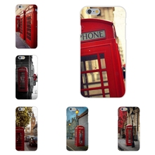 Classic British London Red Telephone Box And Big Ben For Apple iPhone 4 4S 5 5C SE 6 6S 7 7S Plus 4.7 5.5