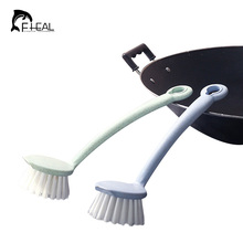 FHEAL 2 in 1 Wheat Straw Frying Pan Bowl Dish Cleaning Brush  And Scraper Kitchen Non Stick Oil Long Handle Brush Protect Hand