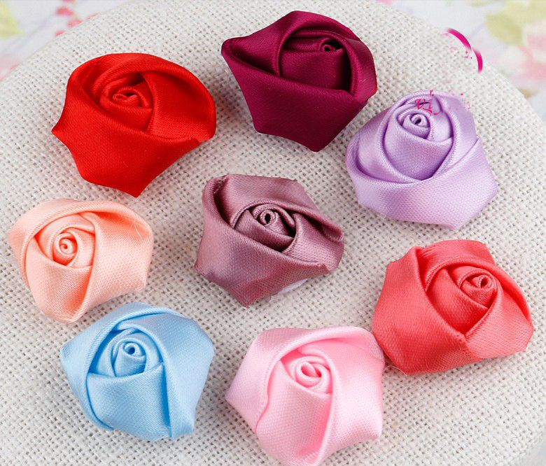 10pcs/lot 25mm Baby Hair Rose Flower Satin Rolled Rosette Flower Decorative For for baby girls headbands hair accessories(China)