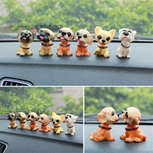 6 PCS Automotive Interior Accessories Innovative Resin Swinging Head Dog Doll Nodding Car Cute Dolls Ornaments(China)