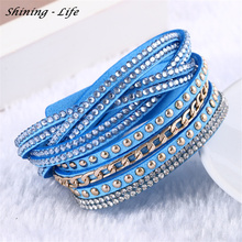 Buy Fashion Vintage Rivet Multilayer Rhinestone Leather Bracelet & Bangles Charm Bracelets pulseira feminina Bracelete Feminino 2016 for $1.27 in AliExpress store