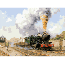 Framless pictures landscape steam train painting by numbers for home decor picture canvas painting Modern Abstract Oil Painting