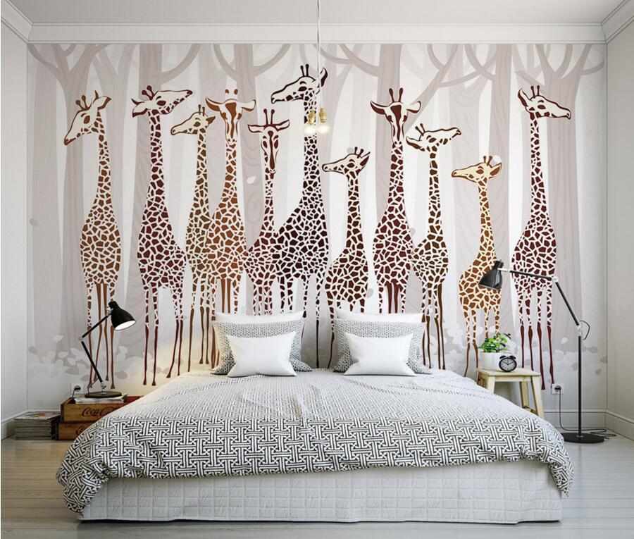 Custom  papel de parede,Nostalgia cartoon giraffe murals wallpaper,living room sofa TV wall children room wallpaper for walls 3d<br>