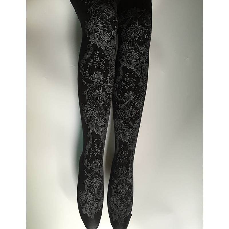 Japanese Style Vintaga Patterned Gothic Lolita Pantyhose Black Baroque Tattoo Tights Girl