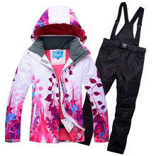 Women snowboard suit Hooded Ski Jackets + Bib Snowpants Set Woman Skiing Coats Trousers Winter Sports Snow Wear Clothes(China)
