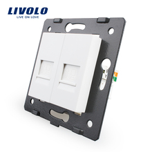 Manufacture Livolo,The Base Of  Socket /Outlet /Plug For DIY Product, 2 Gangs Computer Socket  VL-C7-2C-11
