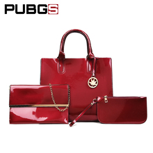 Women's Handbag Shoulder Bags Female High Quality Luster Leather PU Fashion Elegant Practical For Daily 3-Piece Set PUBGS 2018(China)
