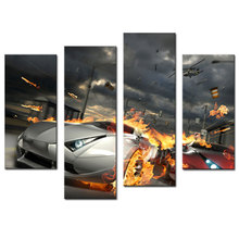 4 Pieces Modern Paintings Cool Car with Smoking and Burning Tires Print on Canvas Wall Art for Home Decoration no Framed(China)