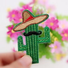 New Arrival 1PCS Cowboy Cactus With Hat and Beard DIY Embroidered patches Iron On Cartoon Brooch Applique Embroidery Accessory(China)