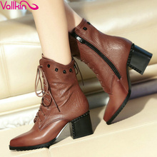 VALLKIN Vintage Style Lace Up Square High Heel Shoes Woman Real Leather Ankle Boots Women Shoes Zipper Lady Motorcycle Boots