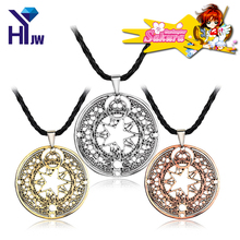 Hot Anime Cartoon Cardcaptor Sakura Kinomoto Necklace Sakura Magic Circle Cosplay Gaes Round Pendent Choker Necklace Jewelry