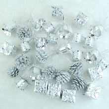 32pcs/pack Christmas decorations Christmas tree pendant mix 4 kinds Silver Christmas hanging ornament tree for party decoration