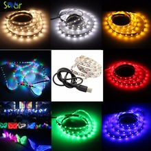 USB Red/Green/Blue/Warm White/RGB LED Strip Light Flexible 3528 Lighting LED Flat Screen TV/PC/Laptop Background Waterproof(China)
