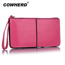 New Arrival Fashion Women Handbag Candy Color Bag Wristlet Oil Wax Genuine Leather Evening Day Clutches Purse Wallet(China)