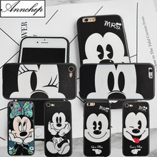 Fashion Cute Cartoon Mickey Minnie Mouse case For iPhone 6 6s Plus 5s SE cover fundas coque for iphone X 8 8 Plus phone cases