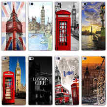 135GG London Red Telephone Big Ben Hard Transparent Cover for Huawei P7 P8 P8 P9 Lite Honor 4C 5C 6 7 8 & Nova