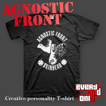 Agnostic Front band skinhead 100% Cotton Black Casual Loose Printing T-shirt Tee