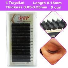 D Curl 4 Trays/Lot Korea Silk Mink Volume Lashes For Female Eyelash Extensions Durable And Easy To Apply Natural Long