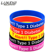 LUKENI Diabetic Bracelets Medical Alert Type 1 Diabetes Insulin Dependent Silicone Wristband Armband Nurse Bangles SH043(China)