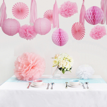 1 set 15 Pieces Pink Paper Lanterns Fans Honeycomb Ball Tassel and Paper Flowers For Baby Shower Kids Birthday Party Decoration(China)