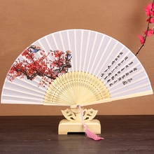 Wholesale Free Shipping Oriental Chinese 100% Silk Bamboo Flower Pattern Fold Hand Pocket Fan Wedding Birthday Party Favors