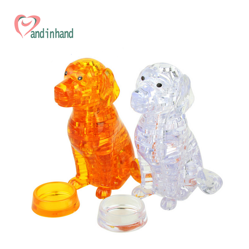 Puppy Dog Toys 3D Crystal Puzzles Funny Animal DIY Assembled Jigsaw Model Toys For Kids Children Juguetes Intelligence Toys(China (Mainland))