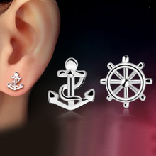 Silver Plated Stud Earrings jewelry Europe Fashion Anchors retro earrings female models(China)