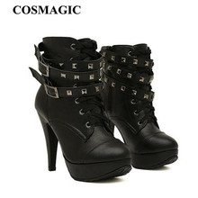2017 New Women Black Ankle Boots Motorcycle Thin High Heel Double Buckle Gothic Punk Platforms  Botas Mujer Free Shipping