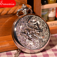 Factory Wholesales Vintage Silver Engraved Case Men Mechanical Pocket Watch Chain Hand-Winding Best Gift Pendant Necklace PW137