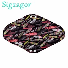 [Sigzagor]1 Extra Large XL Overnight Reusable Bamboo CHARCOAL Mama Cloth Pad,Menstrual Sanitary Maternity Pad,14in 35cm 21 Print(China)