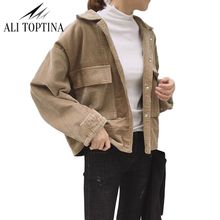 2017 Corduroy Ancient Both Pocket Baseball Serve Jacket Easy Long Sleeve Loose Outerwear Ladies Jackets Casual CoatJk16