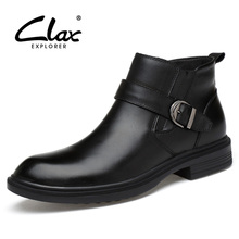 CLAX Men's Boots Genuine Leather Ankle Boot 2017 Black Leather Shoes Motorcycle Boots Winter Shoes Warm Snow Footwear Large Size(China)