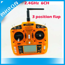 Best price 2.4GHz 6 channel orange RC radio transmitter with three position flap 10-model memory with large LCD display
