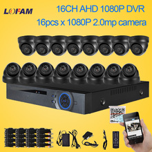 LOFAM HD 1080P 16CH AHD DVR Security Kit 16pcs Dome Indoor 2MP AHD-H Surveillance Camera Home DIY 1080P CCTV AHD Camera System