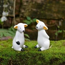 2pcs Ceramic Animal Figurines White Porcelain Sheep Figure Statues Ornaments Handmade Modern Decorative Crafts Home Decor(China)