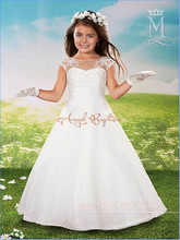 2016 Cheap White Ball Gown Flower Girl Dresses Little Girls Pageant Dresses Plus Size dress for 12 Girls Party Dress 2016