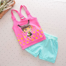 Girls and boys clothes set of toddlers cartoon vest + shorts for 2017 summer cotton sleeveless vest cartoon clothing baby(China)