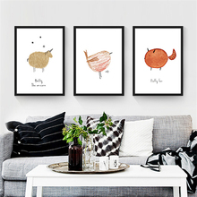 No Frame Flesh Cartoon Animals Print Canvas Drawing Nordic Wall Paper Simple Mural Picture Art Poster Ornament for Children Room