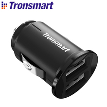 Tronsmart C24 Two Ports USB Car Charger VoltiQ Car-charger Phone Fast Charger USB Adapter Short Circuit Protection CE FCC RoHS(China)