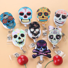 High quality Acrylic Skull head Retractable Badge Reel Cartoon ID Card Badge clip Name Tag Card For School Office Supplies(China)