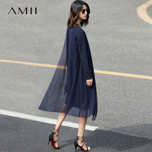 Buy Amii Minimalist Elegant Women Dress 2017 Solid Chiffon O-Neck Long Sleeve Mid-Calf Dresses for $29.69 in AliExpress store
