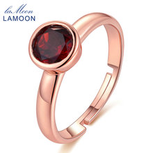 LAMOON 925 Sterling Silver Jewelry Romantic Rings 100% Natural Gemstone Classic 6mm Garnet Fashion Wedding Ring Anillos Mujer(China)